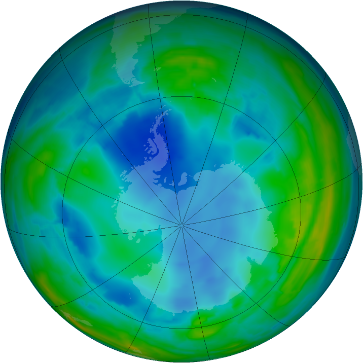 Antarctic ozone map for 01 August 2008