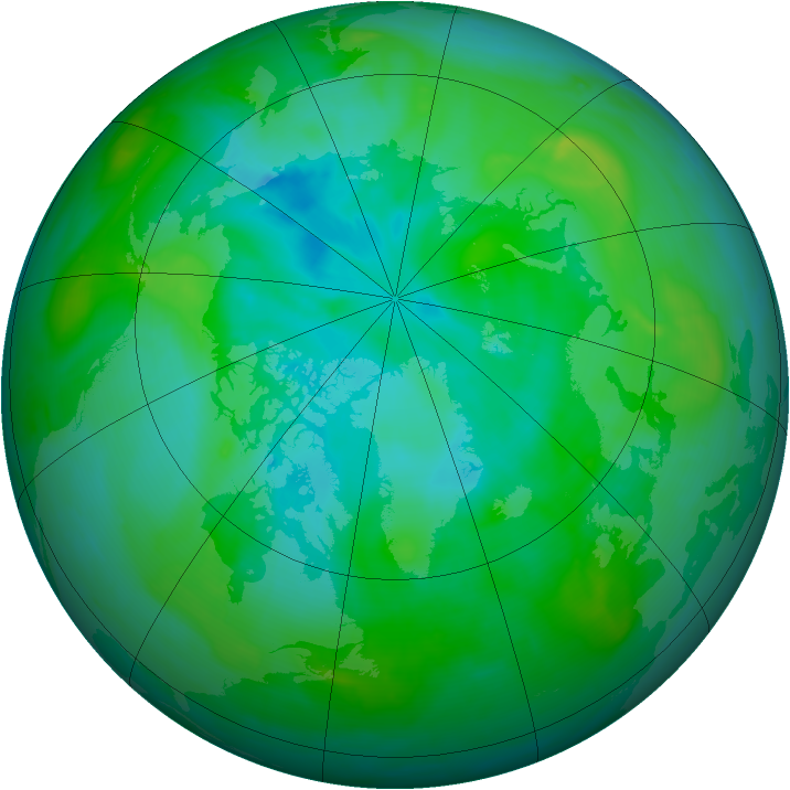 Arctic ozone map for 06 August 2008