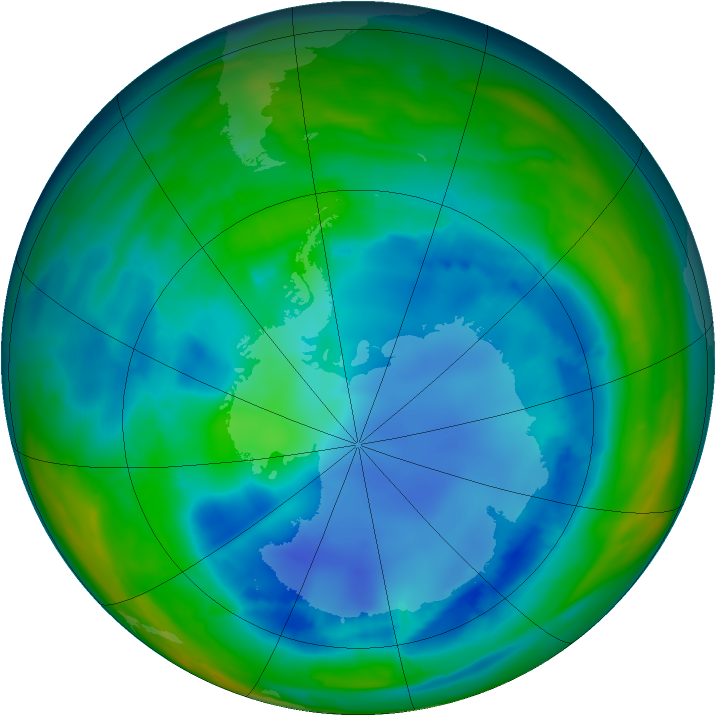 Antarctic ozone map for 11 August 2008