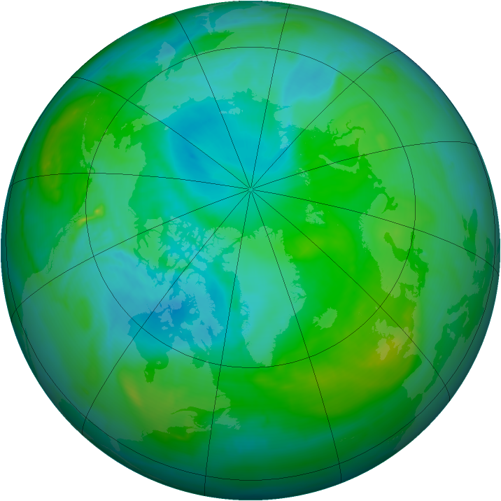 Arctic ozone map for 12 August 2008