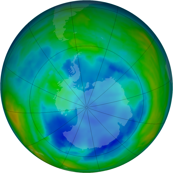 Antarctic ozone map for 12 August 2008