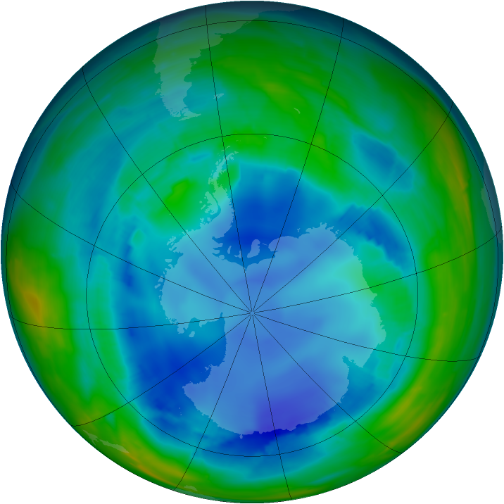 Antarctic ozone map for 13 August 2008