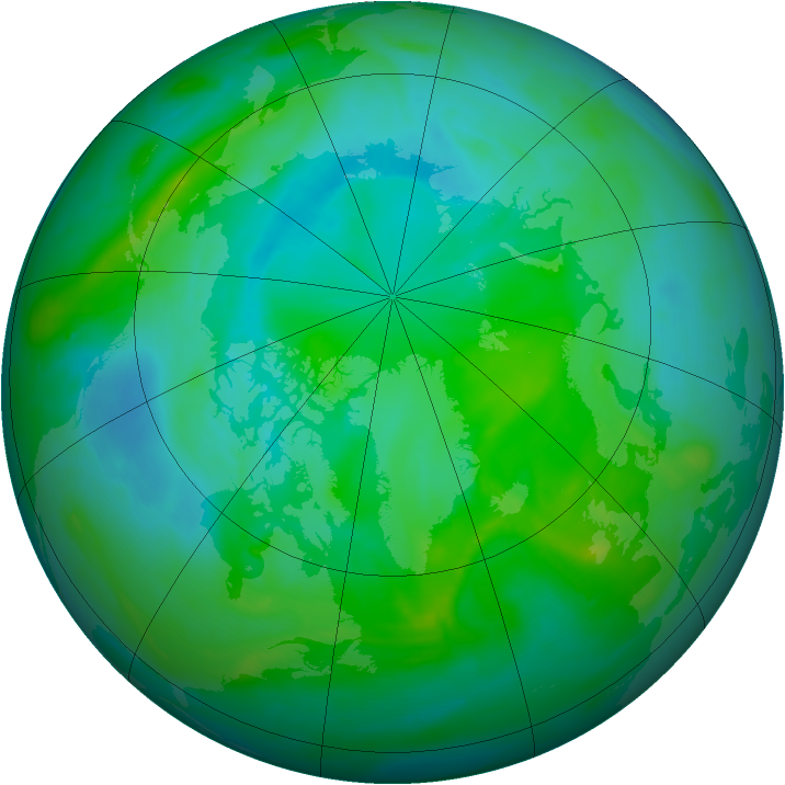 Arctic ozone map for 16 August 2008