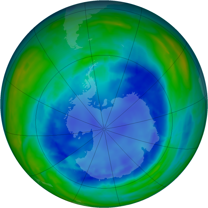 Antarctic ozone map for 22 August 2008