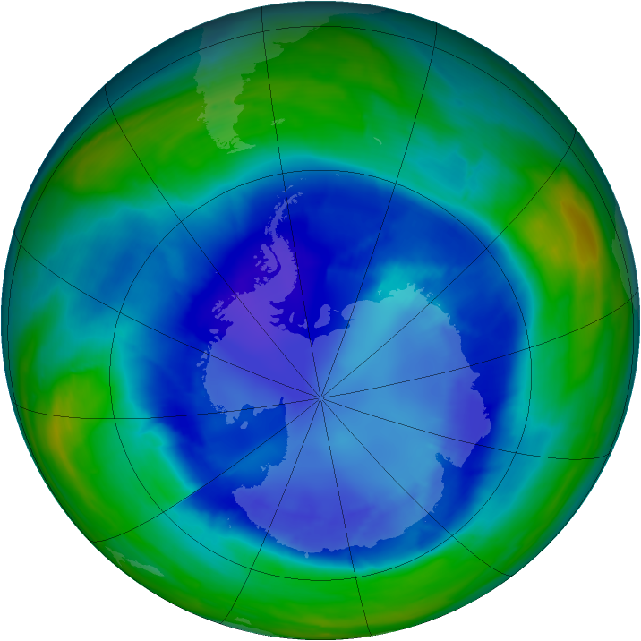 Antarctic ozone map for 30 August 2008