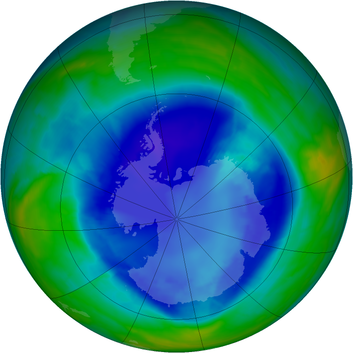 Antarctic ozone map for 31 August 2008