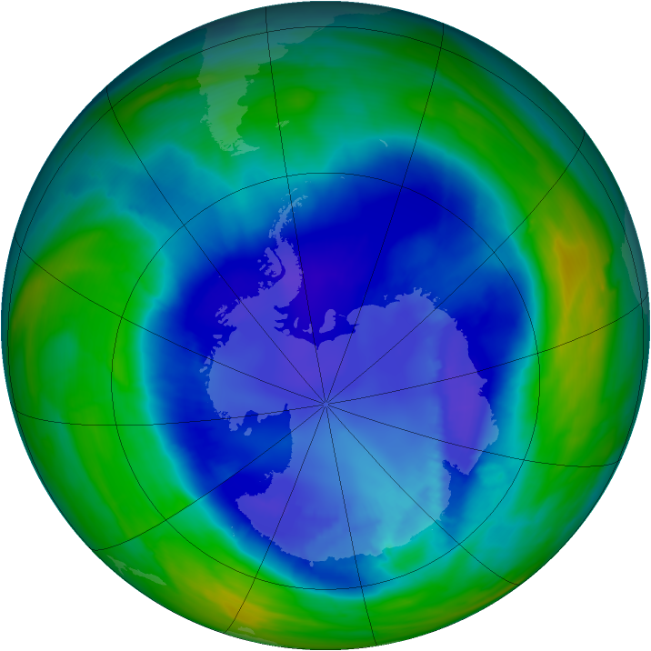 Antarctic ozone map for 02 September 2008