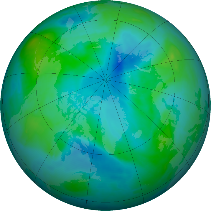 Arctic ozone map for 03 September 2008