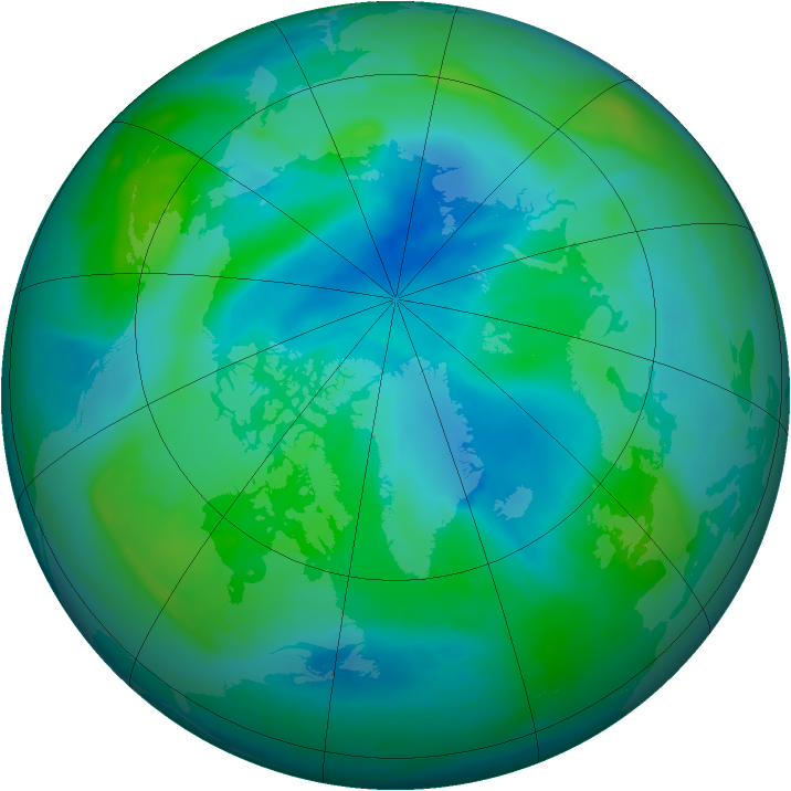Arctic ozone map for 07 September 2008