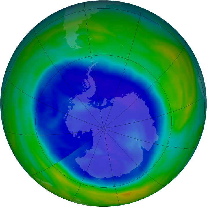 Antarctic ozone map for 08 September 2008