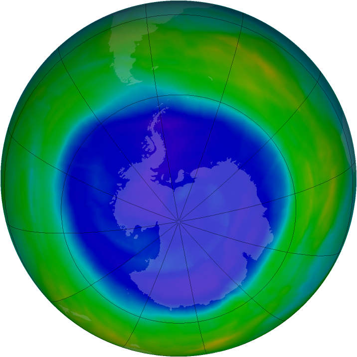Antarctic ozone map for 11 September 2008