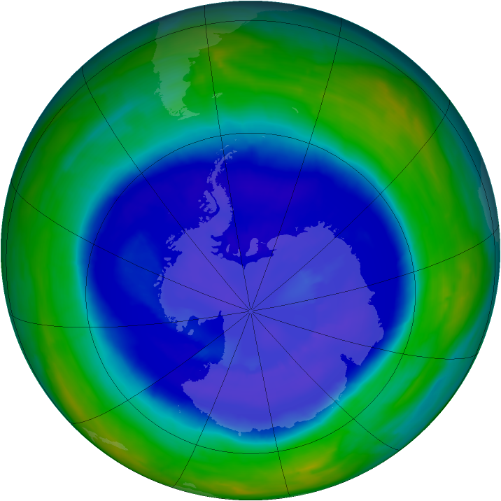 Antarctic ozone map for 12 September 2008