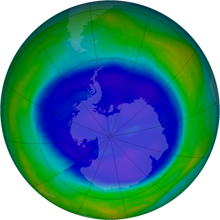 Antarctic ozone map for 13 September 2008