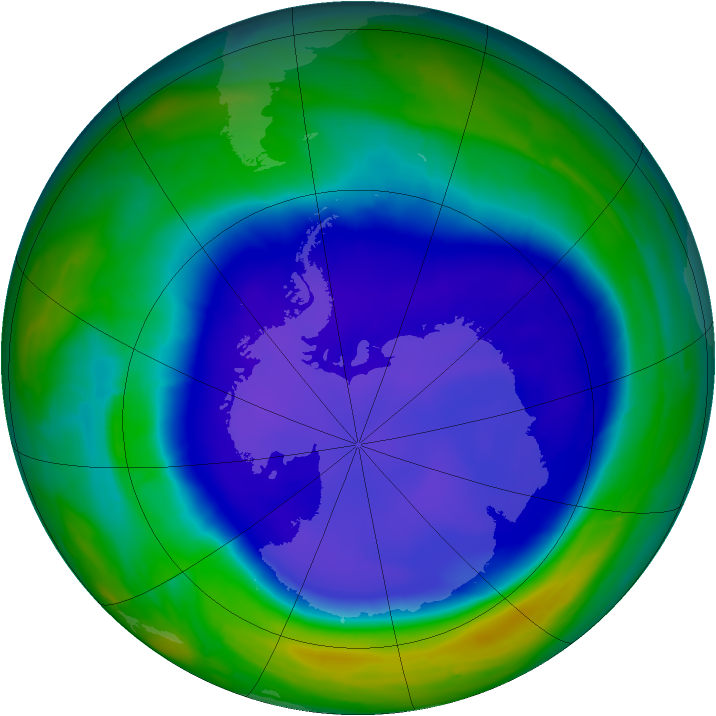 Antarctic ozone map for 17 September 2008