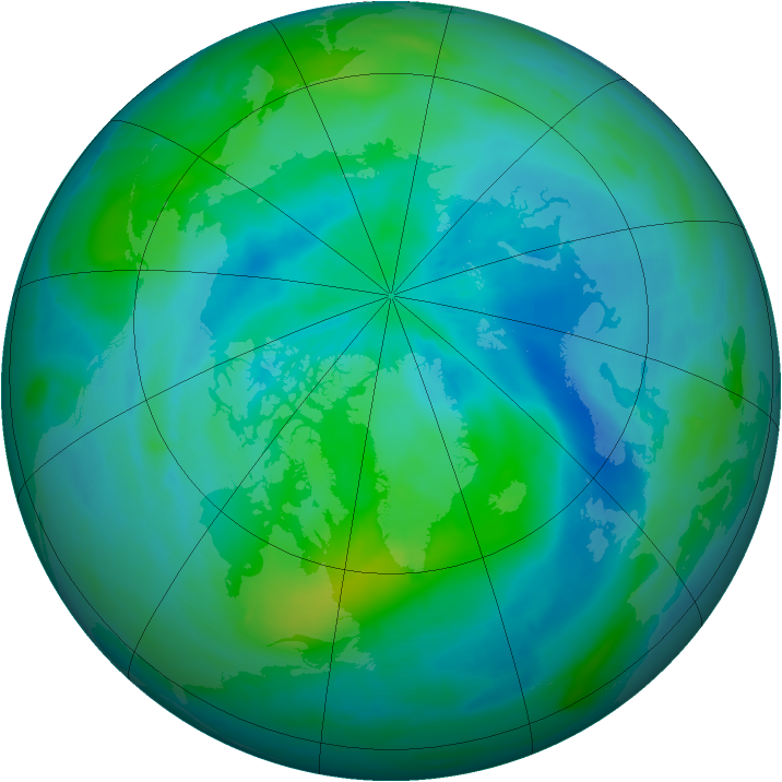 Arctic ozone map for 18 September 2008