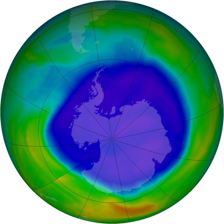 Antarctic ozone map for 20 September 2008