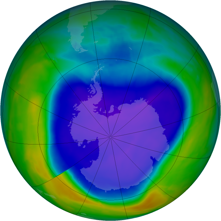 Antarctic ozone map for 24 September 2008
