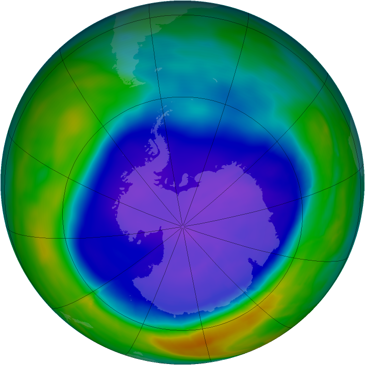 Antarctic ozone map for 25 September 2008
