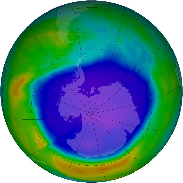 Antarctic ozone map for 26 September 2008