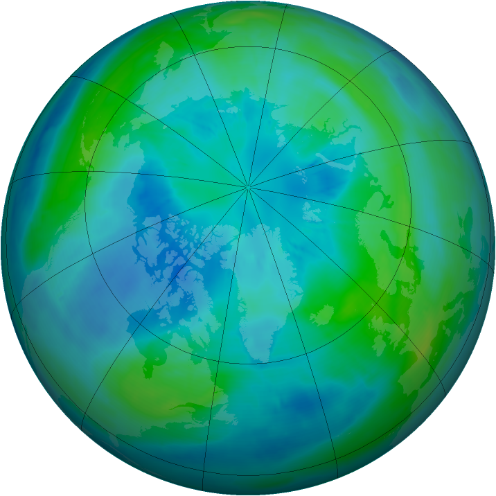 Arctic ozone map for 03 October 2008