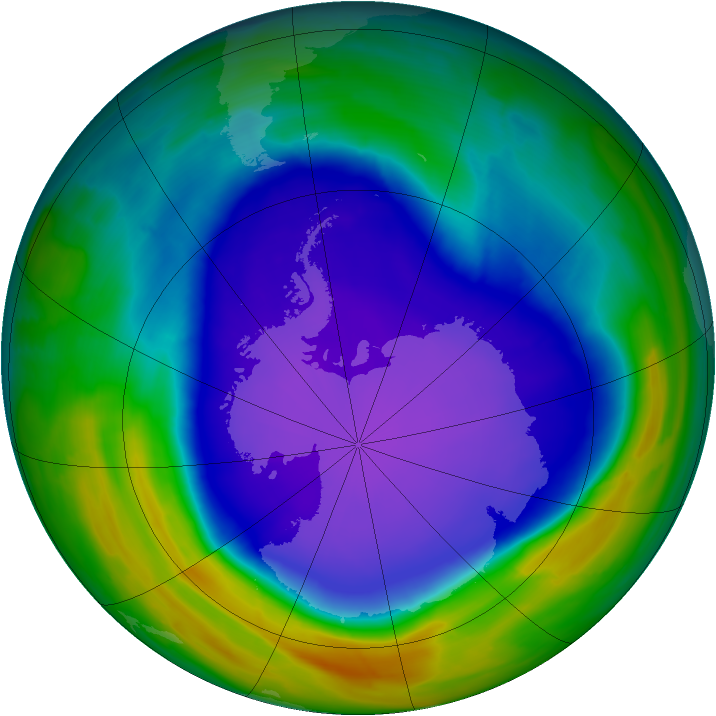 Antarctic ozone map for 04 October 2008