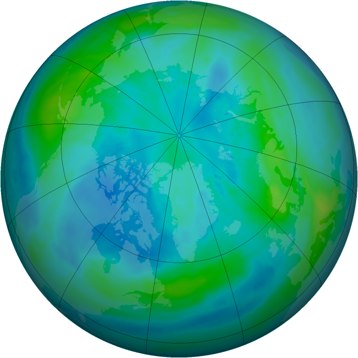 Arctic ozone map for 05 October 2008