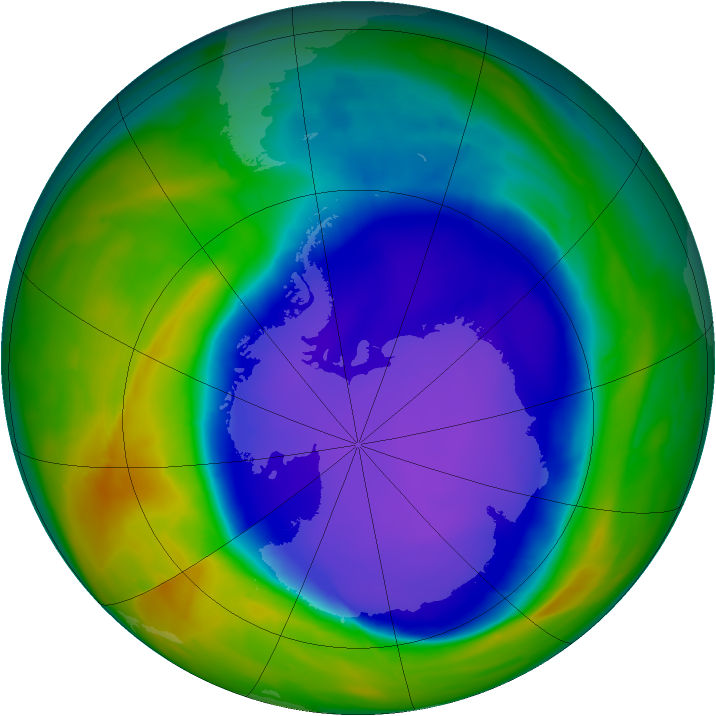 Antarctic ozone map for 09 October 2008