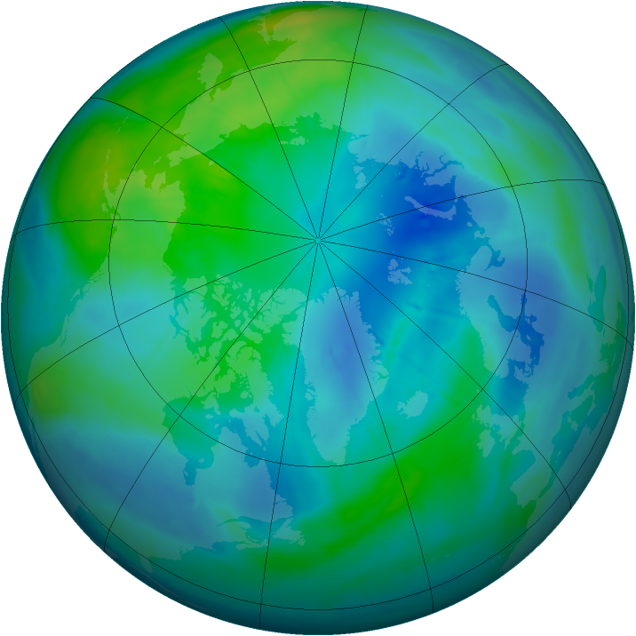 Arctic ozone map for 11 October 2008