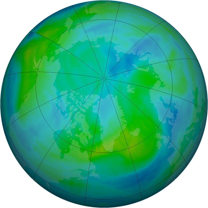 Arctic ozone map for 20 October 2008