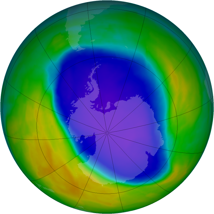 Antarctic ozone map for 20 October 2008