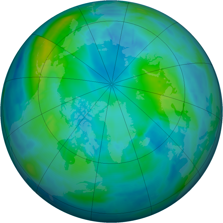 Arctic ozone map for 23 October 2008