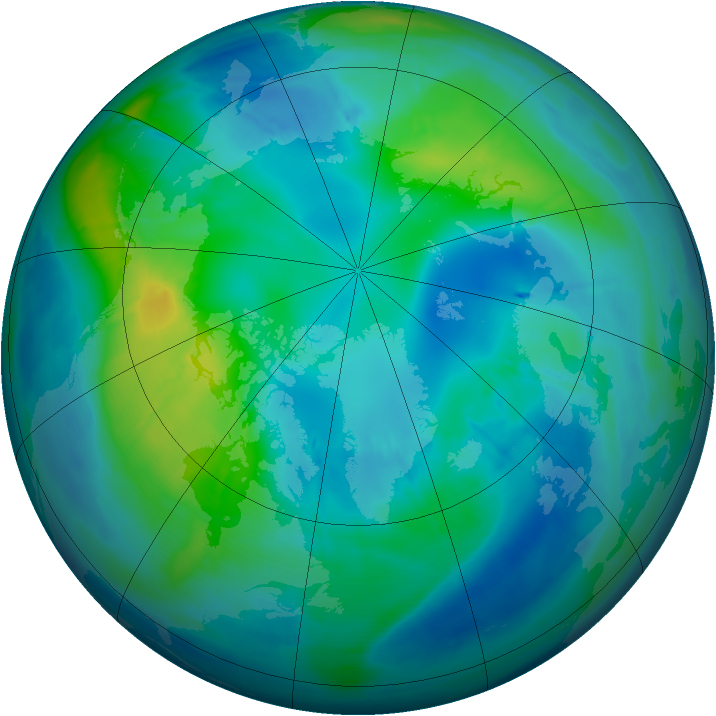 Arctic ozone map for 25 October 2008