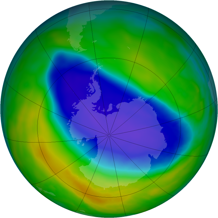 Antarctic ozone map for 27 October 2008