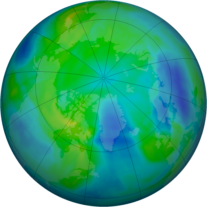 Arctic ozone map for 30 October 2008