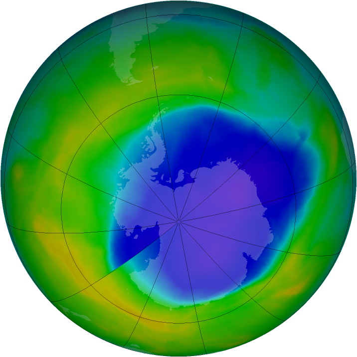 Antarctic ozone map for 02 November 2008