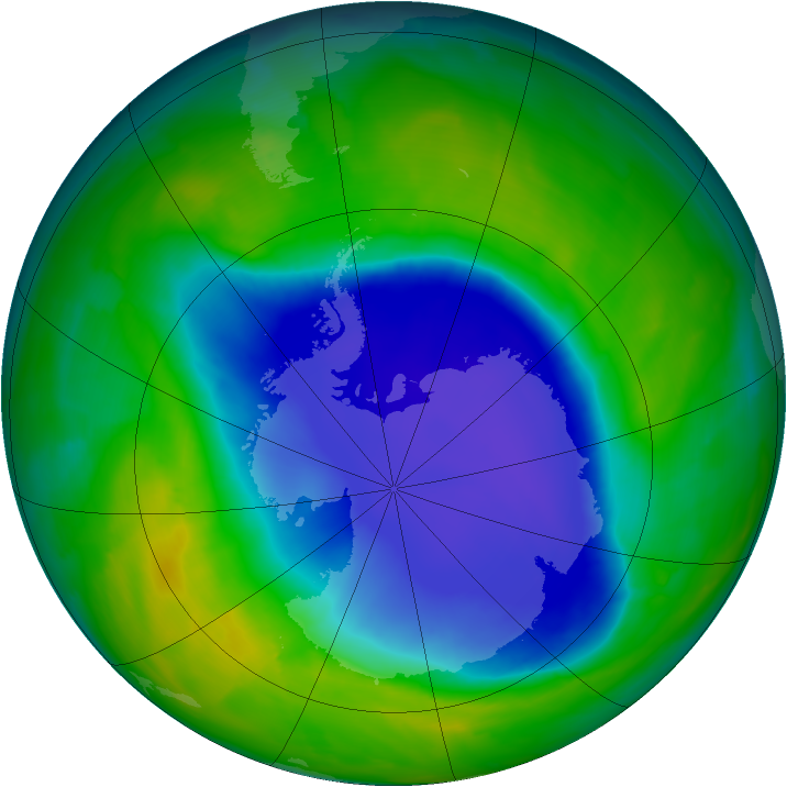 Antarctic ozone map for 06 November 2008