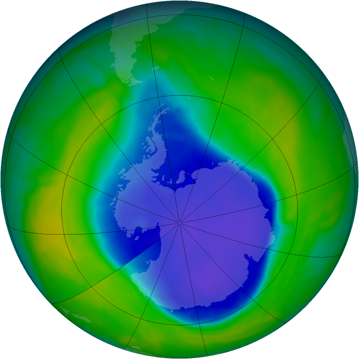 Antarctic ozone map for 08 November 2008