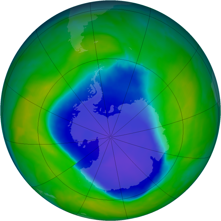 Antarctic ozone map for 09 November 2008