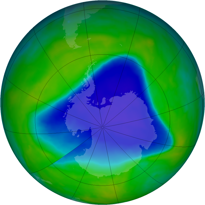 Antarctic ozone map for 13 November 2008