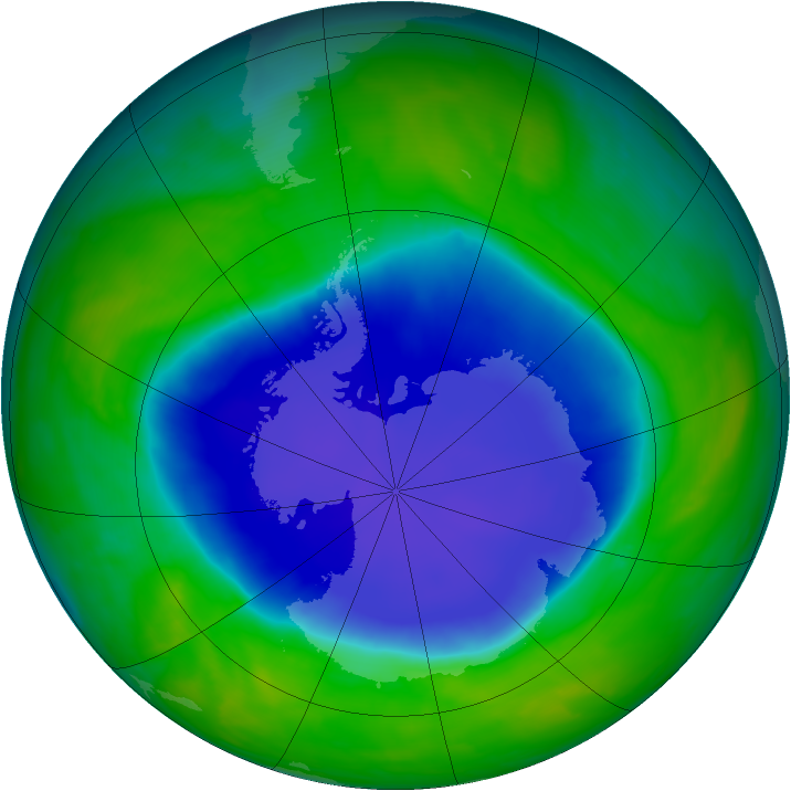 Antarctic ozone map for 17 November 2008
