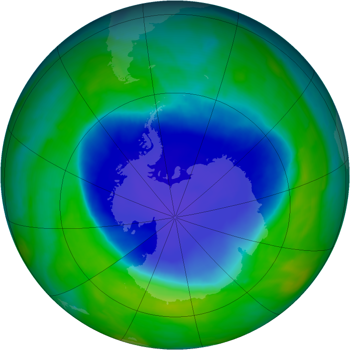 Antarctic ozone map for 22 November 2008