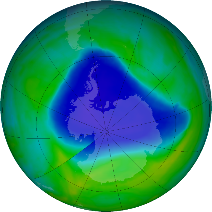 Antarctic ozone map for 24 November 2008