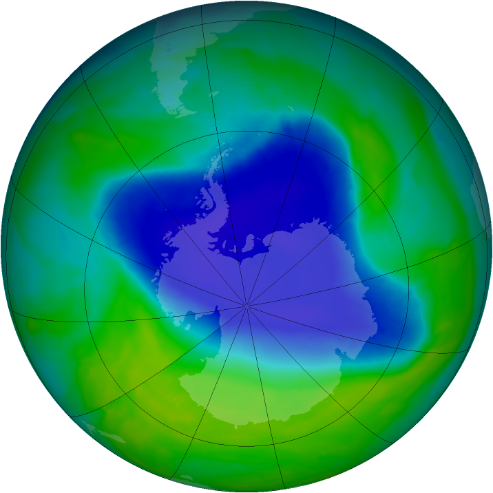 Antarctic ozone map for 25 November 2008
