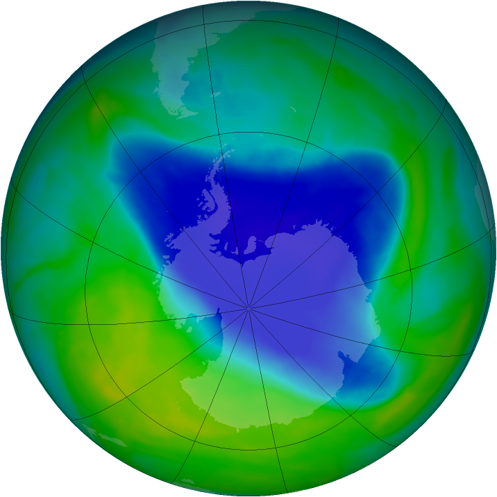 Antarctic ozone map for 26 November 2008