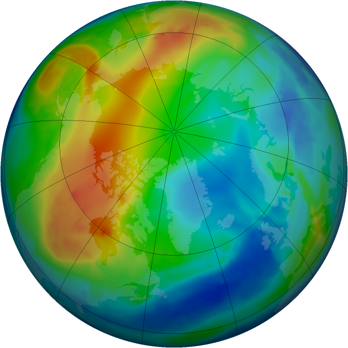 Arctic ozone map for 03 December 2008