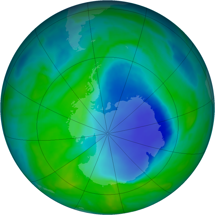 Antarctic ozone map for 05 December 2008