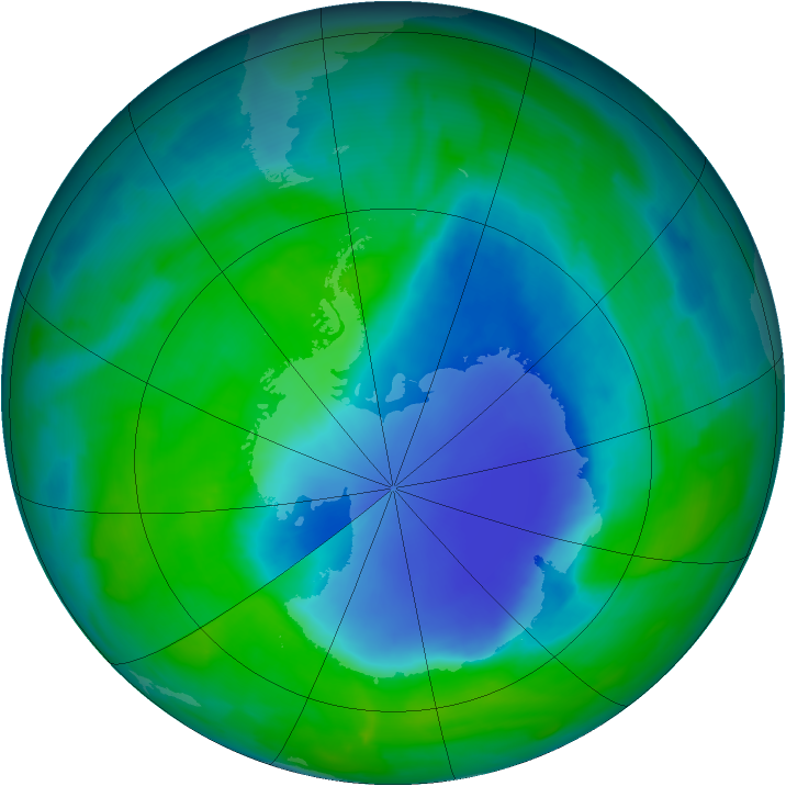 Antarctic ozone map for 06 December 2008