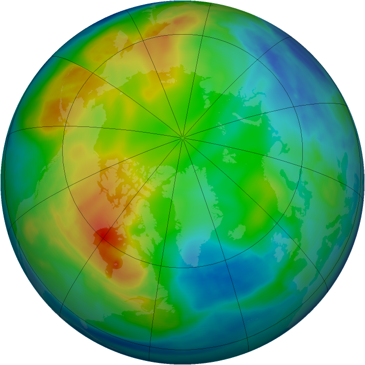 Arctic ozone map for 08 December 2008