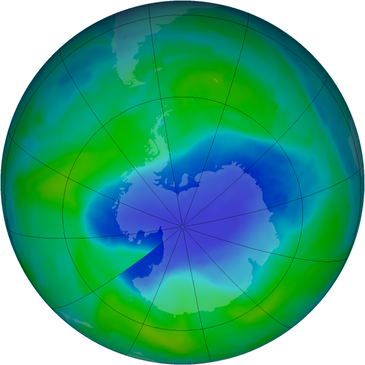 Antarctic ozone map for 08 December 2008