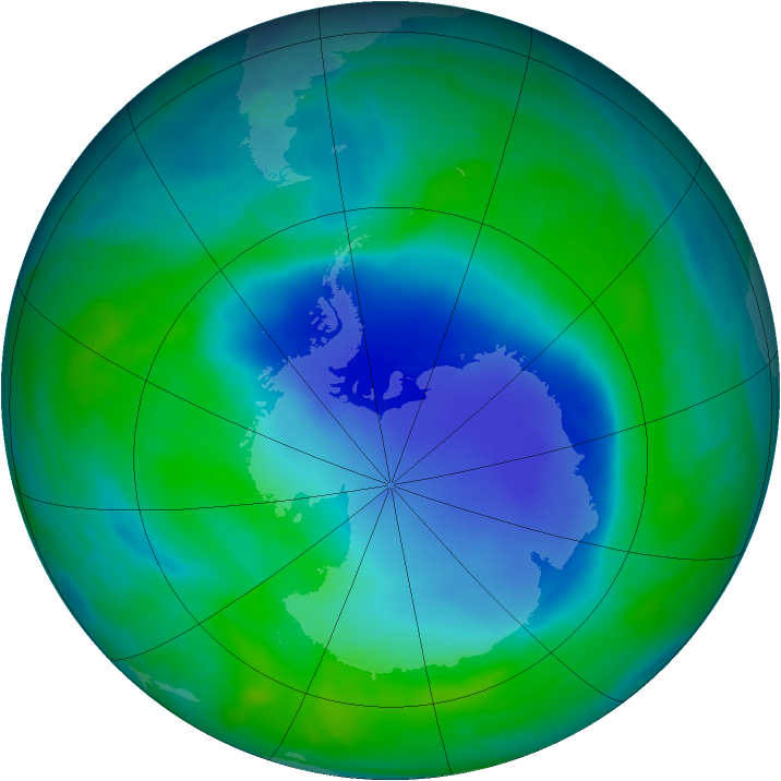 Antarctic ozone map for 10 December 2008